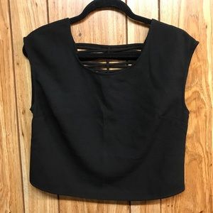 Criss Cross Back Black Dressy Express Crop Top